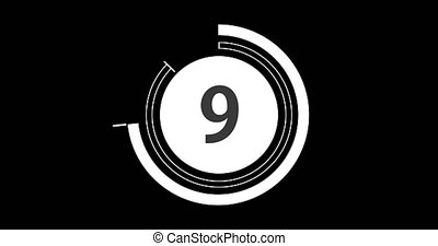 Circular countdown clock, 10 seconds with numbers and circles marking time