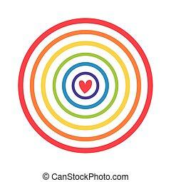 circular cute rainbow with heart flat style icon