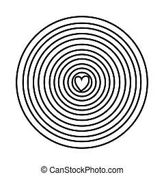 circular cute rainbow with heart line style icon