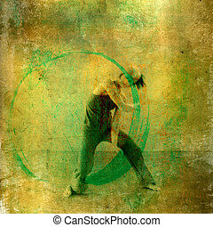 Modern dancer with positive green energy circle. Photo based illustation.