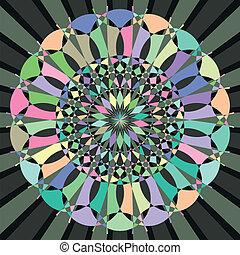 circular decorative geometric pattern - vector illustration