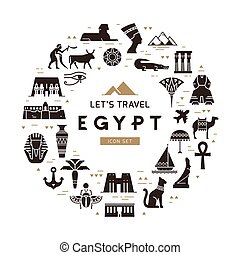 Circular design pattern of filled icons on the theme of sights and symbols of Egypt.