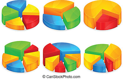 Color circular diagrams with different size growth pieces, vector illustration