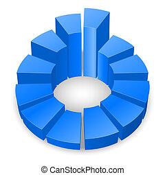 Circular diagram. - Blue circular diagram isolated on white...