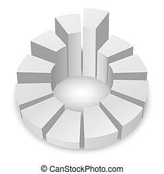 Circular diagram. - White circular diagram with columns...