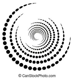 Circular dotted shape, motif. Spiral, twirl element with circles.