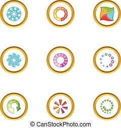 Circular downloading icons set, cartoon style
