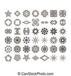 Circular drawing, mandalas for your projects. Set of abstract design elements.