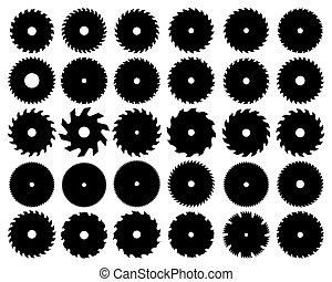 circular - Black silhouettes of different circular saw...
