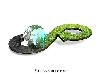 Circular economy concept. Arrow infinity symbol of grass...