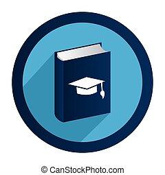 circular emblem with book with graduation hat