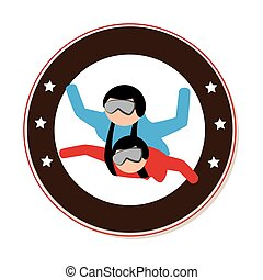 circular emblem with couple in parachute