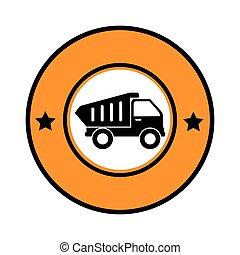circular emblem with dump truck