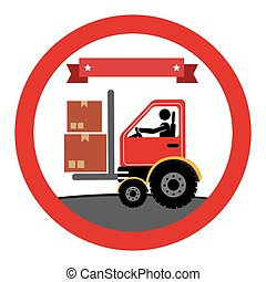 circular emblem with forklift truck with forksand ribbon on top