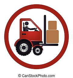 circular emblem with forklift truck with forks