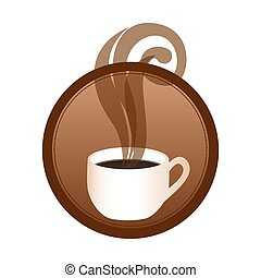circular emblem with hot cup of coffee