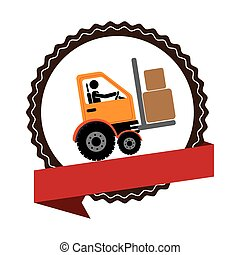circular emblem with ribbon and forklift truck with forks