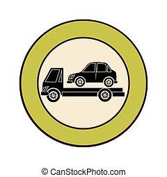 circular emblem with tow truck
