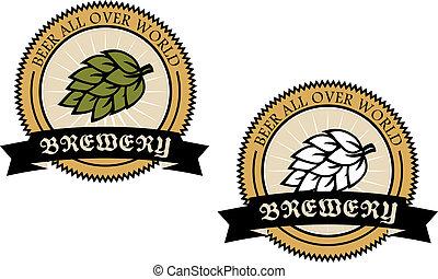 circular, etiquetas, cervecería, dos