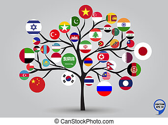 Circular flags of Asia in tree design. Vector illustration.