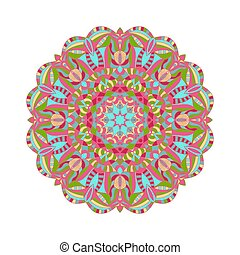 Circular floral ornament in east style. Round Pattern Mandala for design element. Vintage decorative elements.