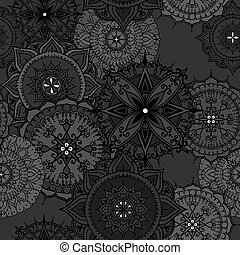 Circular Floral Ornament Template For Tattoo or Else seamless