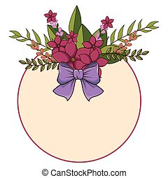 circular floral spring frame with lilac ribbon