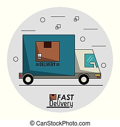 circular frame background with fast delivery truck of packages