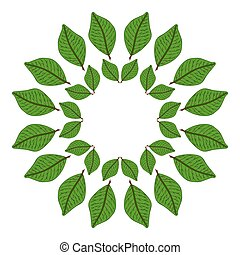 Circular frame of green leaves. vector illustration. Drawing by hand.