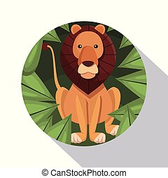circular frame shading of poster closeup lion in the jungle
