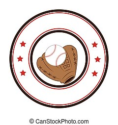 circular frame with ball and baseball glove