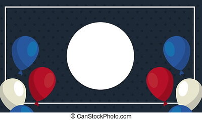 circular frame with balloons helium animation ,4k video animated