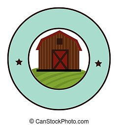 circular frame with barn of two floors
