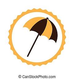 circular frame with beach umbrella