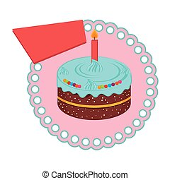 circular frame with birthday cake with candle