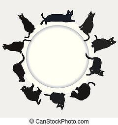 Circular frame with black cats