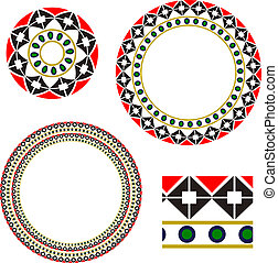 Circular frame with elements of national Ukrainian embroidery. eps10