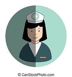 circular frame with female nurse
