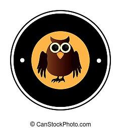 circular frame with halloween owl