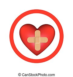 circular frame with heart band aid in cross form