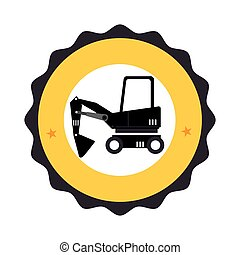 circular frame with pictogram with forklift truck with forks
