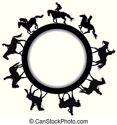 Circular frame with silhouettes of horse riders