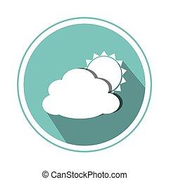 circular, frontera, con, silueta, nube, y, sol