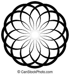 Circular geometric decorative pattern. Abstract round...