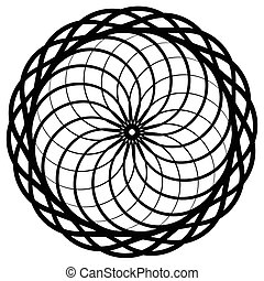 Circular geometric element, abstract motif, mandala isolated...