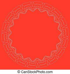 Circular geometric ornament with thin lines. Geometric mandala, motif element