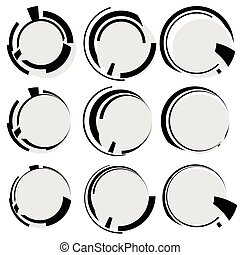 Circular geometric shapes. Circles with irregular lines. Abstract hi-tech, futuristic heads up display element templates
