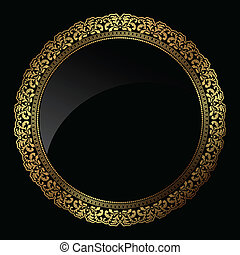 Circular gold frame - Decorative circular frame in metallic...