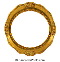 circular golden frame isolated on white