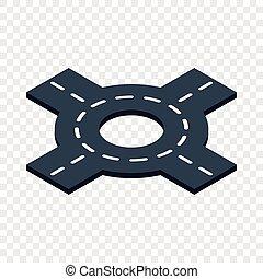 Circular interchange isometric icon